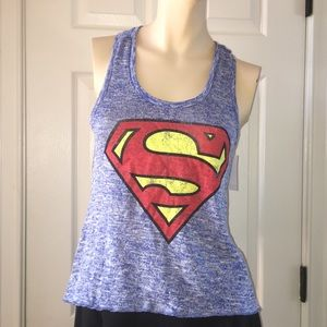NWT Superman Racer Back Tank Top by Superman